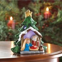 Enchanting Light-Up Nativity Christmas Tree Decor