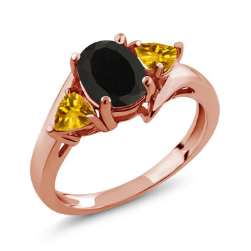 1.65 Ct Oval Black Onyx Yellow Citrine 18K Rose Gold Plated Silver Ring