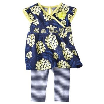 Genuine Kids from OshKosh™ Newborn Infant Girls' Cap Sleeve Floral Tunic and Striped Legging Set