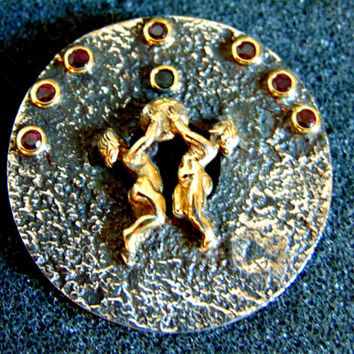 Stunning silver and gold gemstone brooch- Silver gold and garnet brooch-Women's antique brooch-Artisan jewelry-Greek art