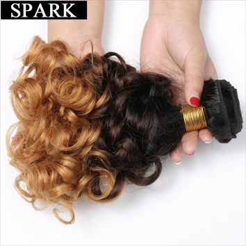 "Spark 1B/4/27 Ombre Brazilian Bouncy Curly Hair 3 Tone Remy Human Hair Extensions 1PC 12""-26"" Hair Weave Bundles Free Shipping"