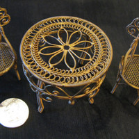 Dollhouse Miniatures Furniture Metal Patio Set Victorian Garden Furniture