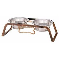 Black Label Collection Rustic Bone Diner for Dogs, 1-Pint, Aged Copper