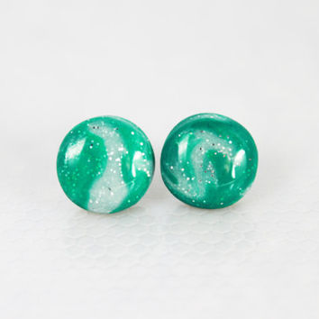 Green and Silver Earrings, Polymer Clay Jewelry, Stud Earrings, Hypoallergenic Jewelry, Gifts For Her