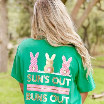 Sun's Out Bun's Out Easter Short Sleeve Green Tee Shirt
