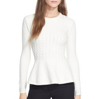 Women's Ted Baker London 'Mereda' Cable Knit PeplumSweater,
