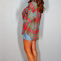 Vintage Flannel, Plaid Button Up 90s Grunge Colorful 100% Cotton Comfy Oversize