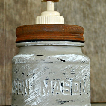 Mason Jar Soap Dispenser - Painted in Coco and distressed - Rustic, Country, Shabby Chic, Farmhouse, Vintage Style