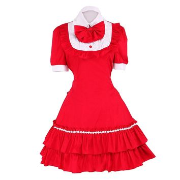 Partiss Women's Bow Ruffles Cute Sweet Vintage Gothic Lolita School Dress