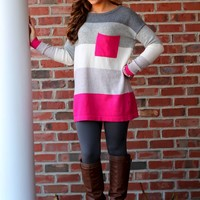 Striped Sweater: Pink/Grey