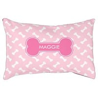 Pink Dog Bone With Pet's Own Name Dog Bed