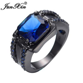 JUNXIN Gorgeous Male Big Blue Ring Fashion Black Gold Filled Jewelry High Quality Vintage Wedding Rings For Women Birth Gifts