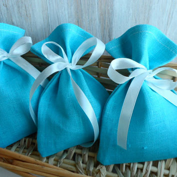 Small linen bags. Burlap bag with white ribbon  Wedding Favor Bag Turquoise bag
