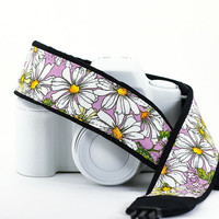 Daisies dSLR Camera Strap, Last one, Lilac, Daisy, Flowers, Floral, Quick Release, SLR, 11 w