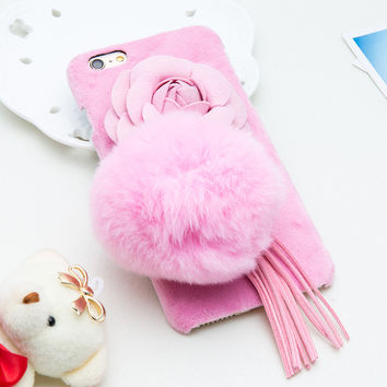 DIY Fashion Rabbit Fur Ball Flowers Floral Tassel Phone Cases For iphone 7 6 6s Plus Case Warm Winter Fuzzy Soft TPU Cover Coque