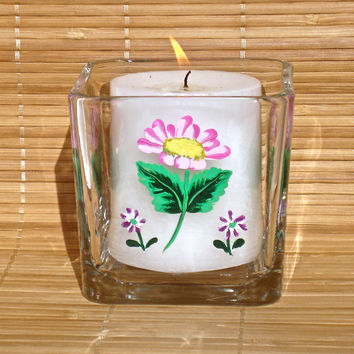 Hand Painted Candle Holder With Pink And Purple Flowers