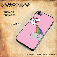 HELLO KITTY UNICORN Snap on 2D Black and White Or 3D Suitable With Image For Iphone 4/4S Case
