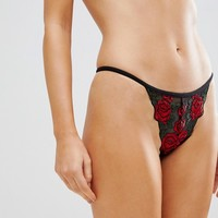 New Look Rose Embroidery Thong at asos.com