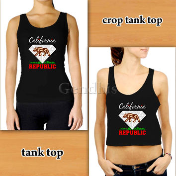 California Diamond 4 Custom Woman Crop Tank , Woman Tank Top , Man Tank Top