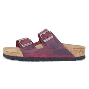 Birkenstock for Women: Arizona Oiled Leather Zinfandel Soft Footbed Sandal