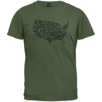 Guns In The US Military Green T-Shirt