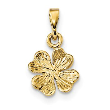 14k Yellow Gold Textured Four Leaf Clover Pendant, 13mm (1/2 inch)