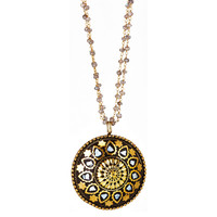 Mother-of-Pearl Mandala Pendant Necklace, Pendant Necklaces