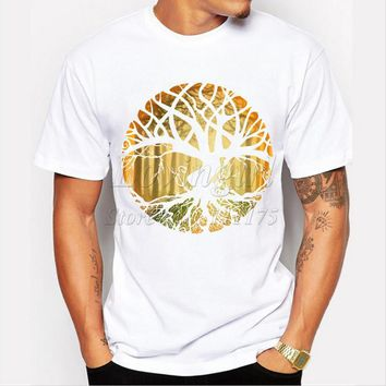 New Design Druid Tree Printed Men's T Shirt O Neck Short Sleeve Cool Tops
