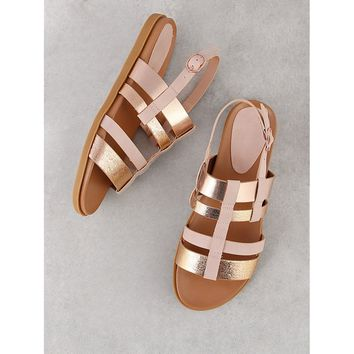 Strappy Two Tone Sling Back Sandal BLUSH MULTI