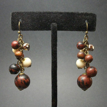 Vintage Brown White and Metallic Beaded Dangle Earrings for Pierced Ears - Brass Hooks - Earth Tones Boho Kinetic Bead Cluster Drop Earrings