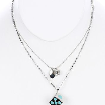 Mint Green Double Layered Chain Dice Charm Bib Necklace