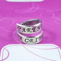Partners in Crime - Hand Stamped Spiral Ring, Pure Aluminum, Shiny, Skinny Band Ring, Script Font