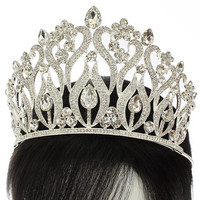 "4.50"" height crystal swirl crown tiara pageant"