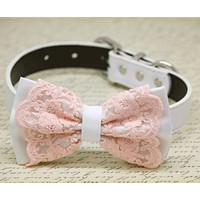 Blush Lace white wedding Dog Bow Tie collar, Beach Wedding, Blush wedding