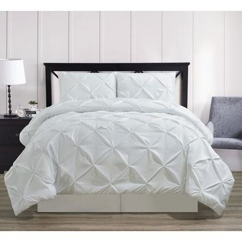Oxford Decorative Pinch Pleat Comforter Set, Hypoallergenic Comforter, Down Alternative Fill