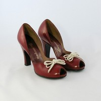 Vintage 1940s Cherry Red Peep Toe Shoes by SweetTrashVintage