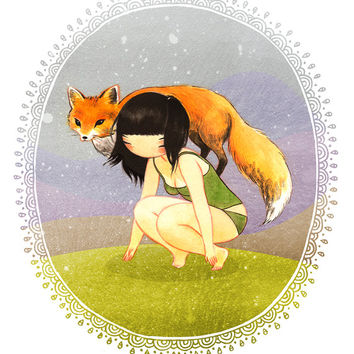 Fox Girl -  8x10 archival fine art print - Wild Child Spirit Animal