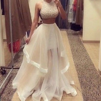 Champagne Two Piece Prom Sequined Sleeveless Dresses 2017Halter Neck Custom Made Women Long Evening Party Dress