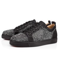 Best Online Sale Christian Louboutin Cl Louis Junior Strass Men's Flat Charbon Strass Shoes 3170175i132
