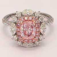 A Flawless 5.9CT Pink Cushion Cut Double Halo Russian Lab Diamond Ring