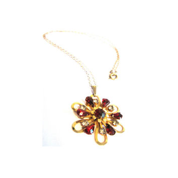 Brass Floral Red Clear Rhinestone Necklace 1950s