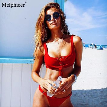 Melphieer New Solid Swimsuit Female Sexi Button Chest Knot Bikinis Women Red Black Brazilian Bikini Bathing Suits 2017 Swimwear