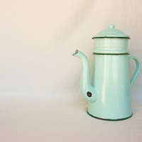 French farmhouse enamelware coffee pot, turquoise mint farmhouse kitchen enamel coffee pot, rustic kitchen, French country home