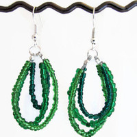 Green beaded loop earrings, Silver plated, Lead and Nickel free, ombre green wire hoop dangle earrings, custom colours uk seller