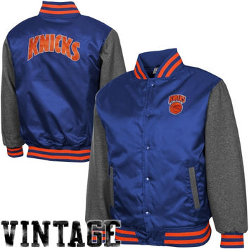 New York Knicks Youth Hardwood Classics Hook Full Button Satin Jacket - Royal Blue/Charcoal - http://www.shareasale.com/m-pr.cfm?merchantID=7124&userID=1042934&productID=522147676 / New York Knicks