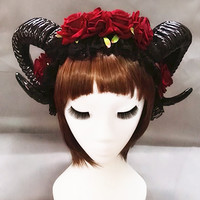 Gothic Horns headdress with optional black veil