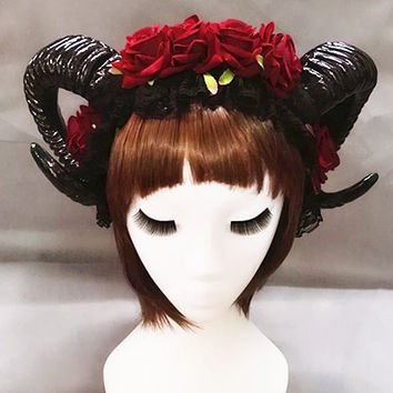 Restyle Sheep Horn Rose Flower Headband Gothic Beauty Horror Horns Halloween Black Veil Lace Retro Hair Accessories Vintage