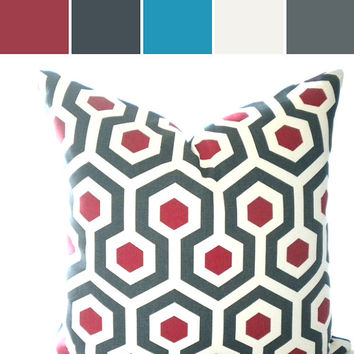 Red christmas geometric pillow cover, FABRIC BOTH SIDES, sofa pillow, throw pillow, pillow
