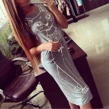 Fashion Cat Print Short-Sleeved Dress