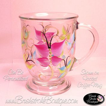 Hand Painted Coffee Mug - Buutterflies Are Free - Original Designs by Cathy Kraemer